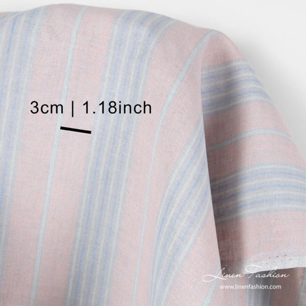 Linen fabric in pastel color stripes with measurements