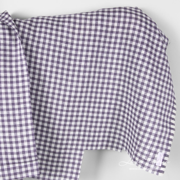 Linen fabric in white purple gingham pattern
