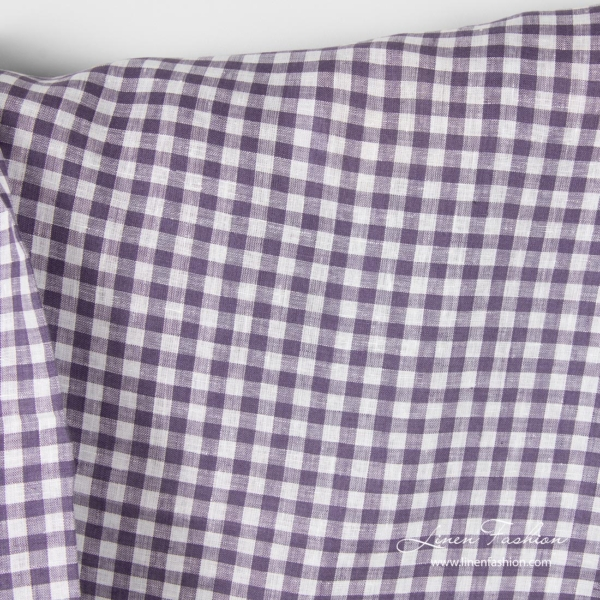 Linen fabric in white and purple checks