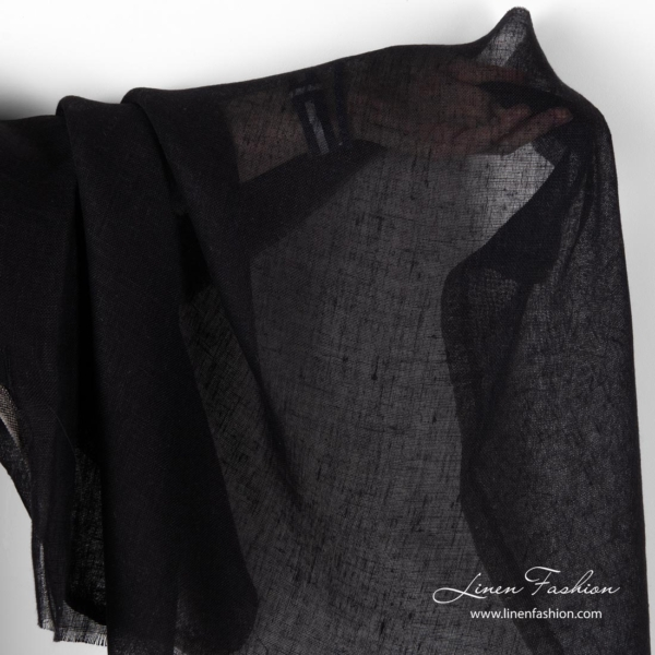 Linen black gauze fabric