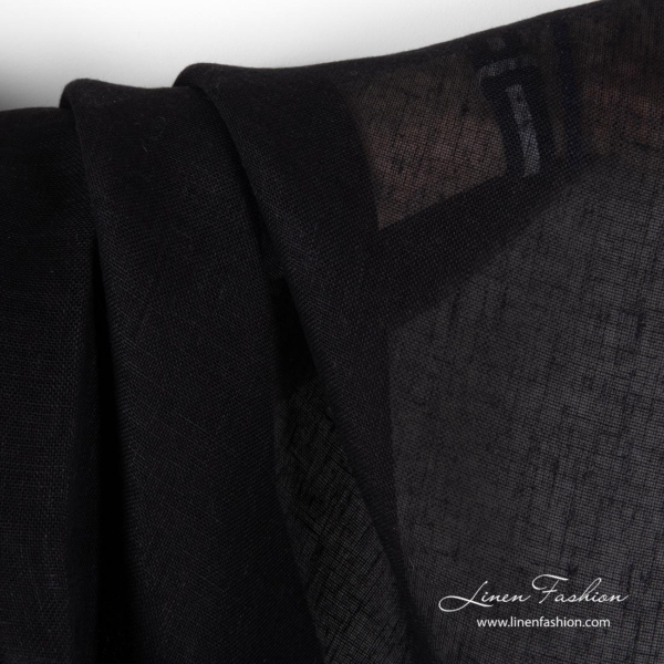 Black linen fabric, open weave