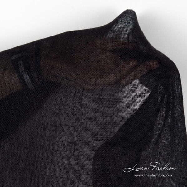 Pure linen transparent black fabric