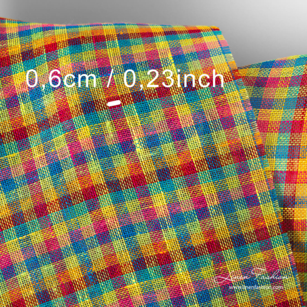 Linen fabric in tiny colorful checks