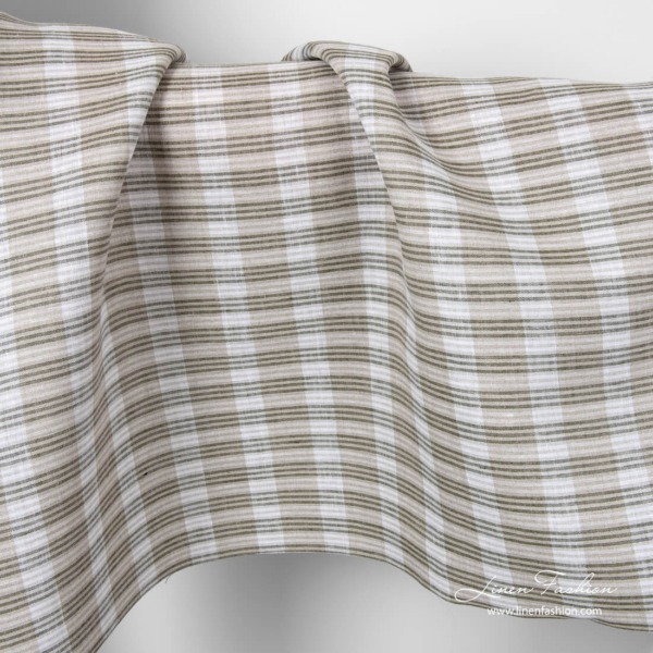 Linen fabric in grey, white stripes