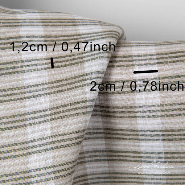 Stripe dimensions of pure linen fabric with grey, green and white stripes
