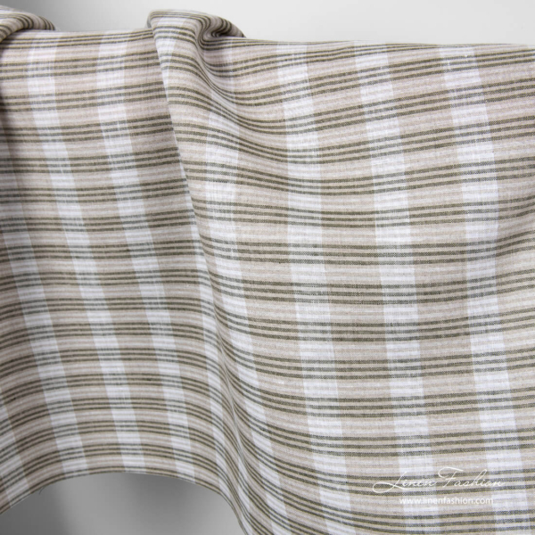 Grey, green and white striped linen fabric