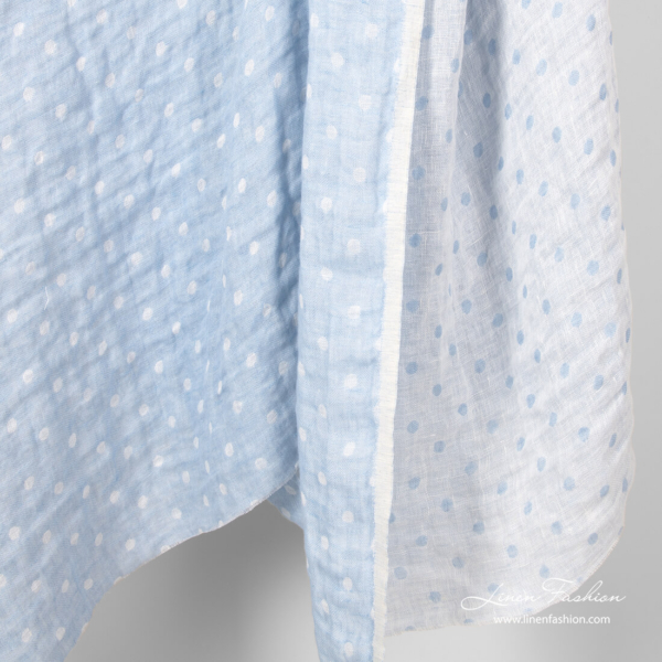 Blue and white bubble pattern linen fabric, washed