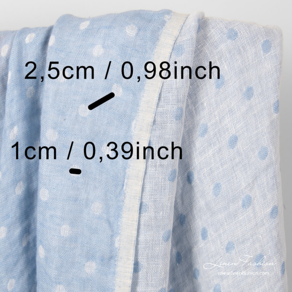 Washed linen fabric with white and blue small bubbles