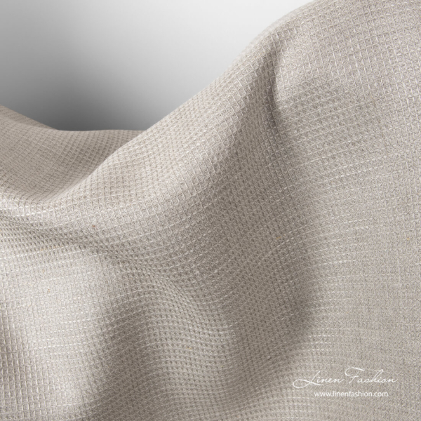 Natural flax colour waffle pattern linen fabric