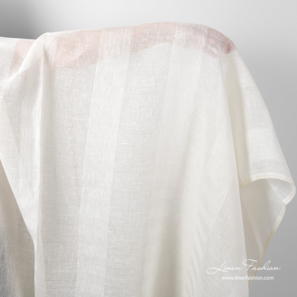 Transparent off white linen fabric in wide stripes