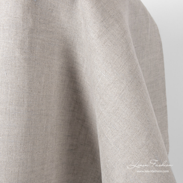 Pure linen natural grey fabric with light blue grey shade