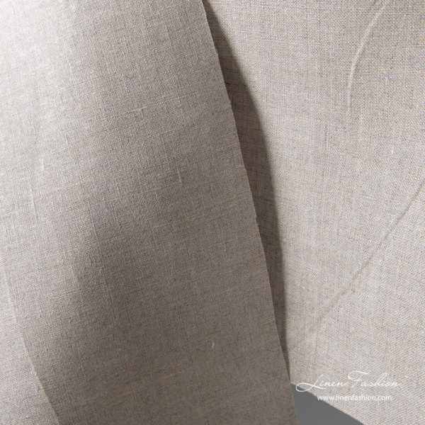 Linen fabric in natural color with blue grey shade