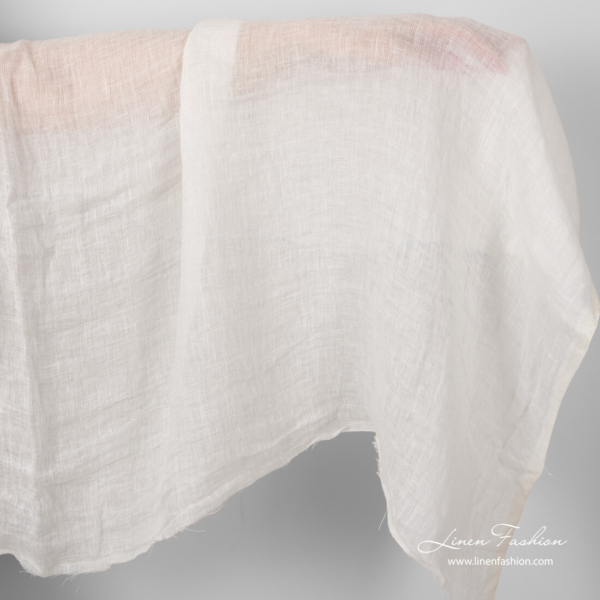 Washed transparent off white linen fabric