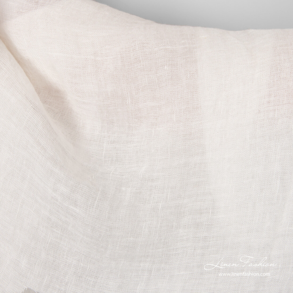 White pure linen open weave fabric, washed