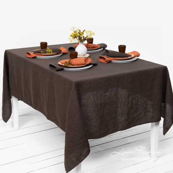 Washed linen dark brown tablecloth