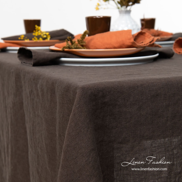 Dark brown linen tablecloth, washed