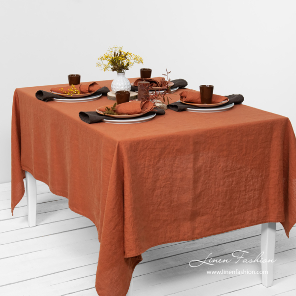 Washed brick color tablecloth