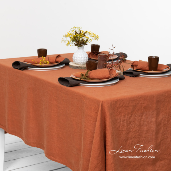 Pure linen washed dark orange color tablecloth