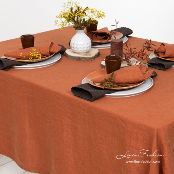 Dark orange washed pure linen tablecloth and napkins