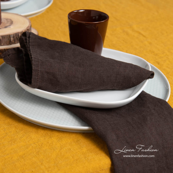 Washed linen chocolate brown napkins