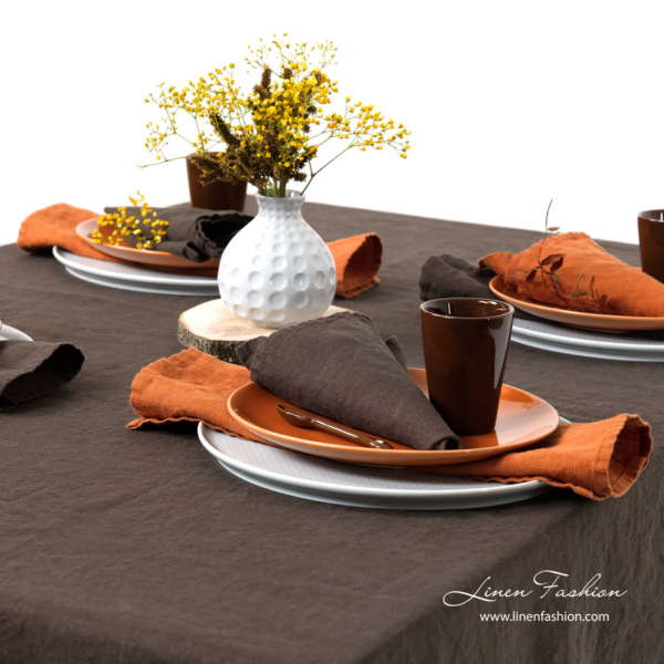 Dark brown linen napkin and tablecloth, washed
