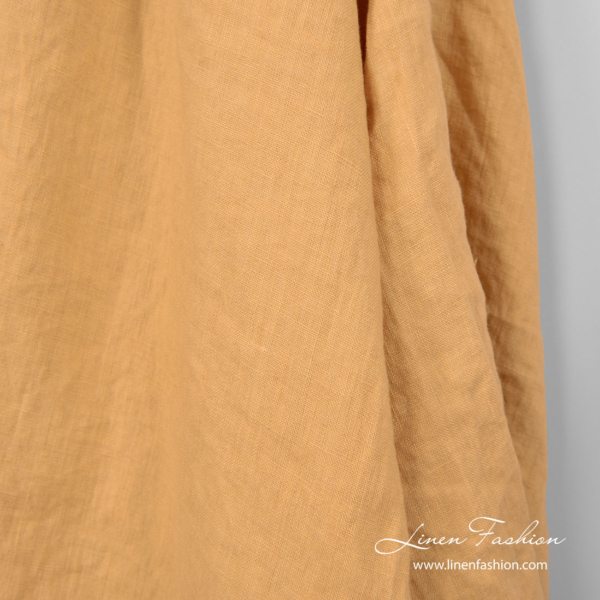 Washed peach yellow linen fabric