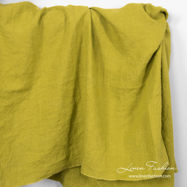 Washed linen fabric in salad green color