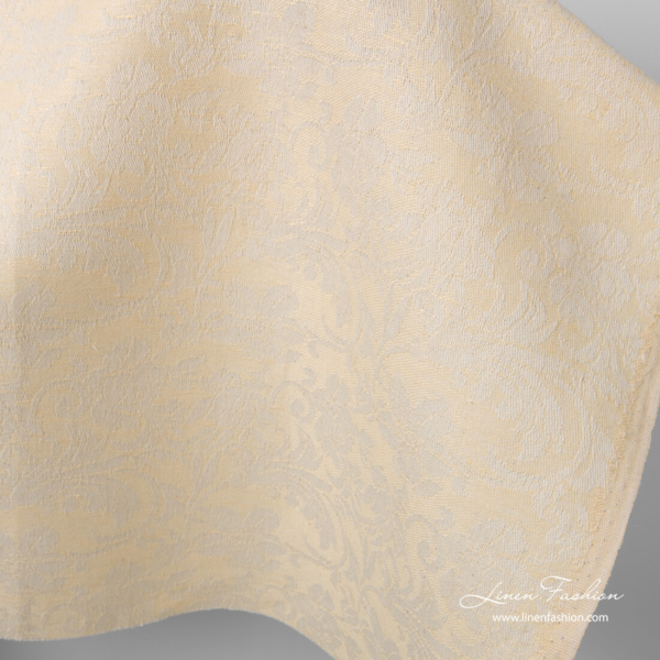 Linen blend cream fabric with flowers