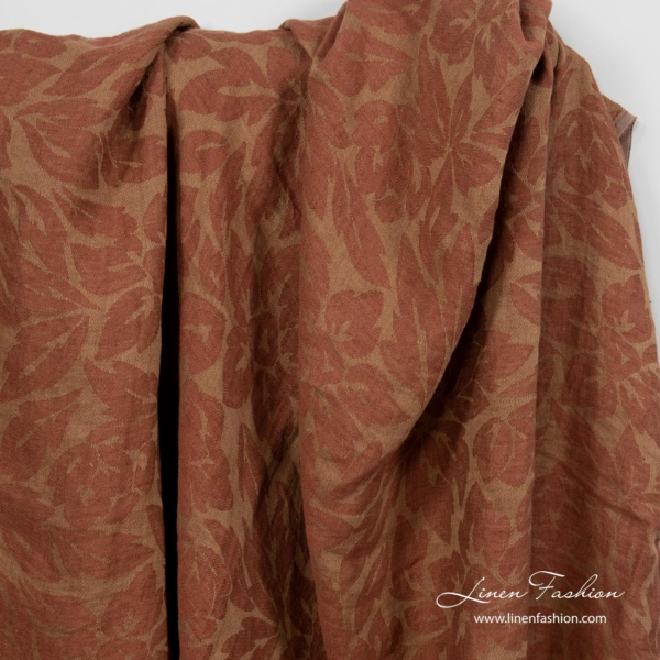 Washed brown floral pattern fabric