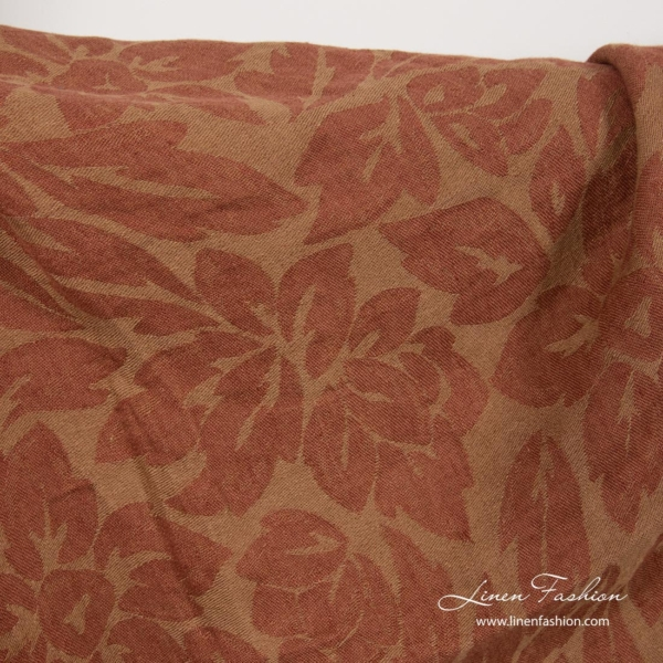Brown linen fabric with flowers, washed