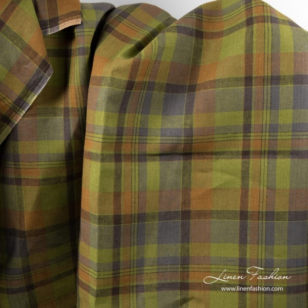 Plaid linen fabric in green, brown
