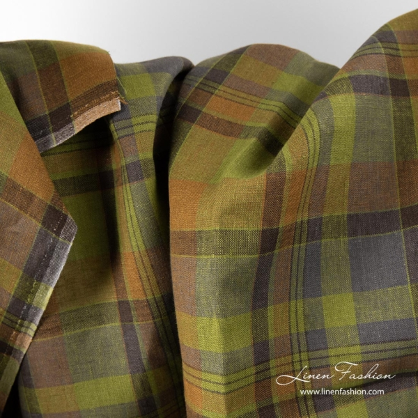 Brown and green checked linen fabric