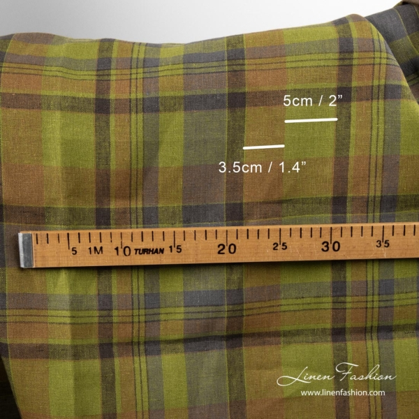 Checked linen fabric measurements