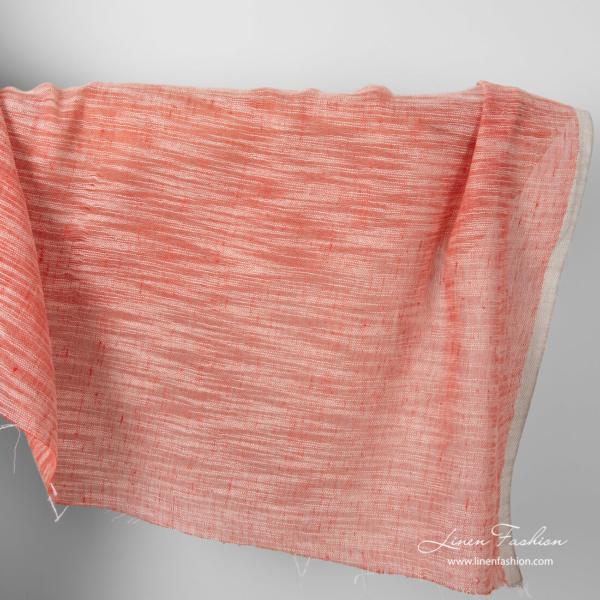 Linen cotton red fabric with white stripes