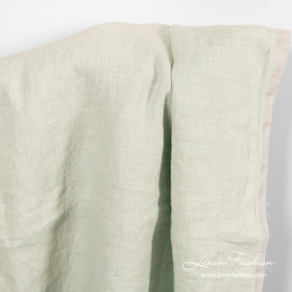 Washed faded mint green linen fabric