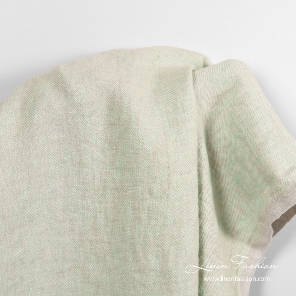 Washed linen fabric in pale green