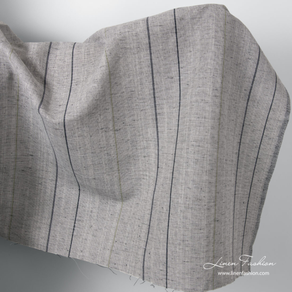 Grey variegated linen cotton fabric