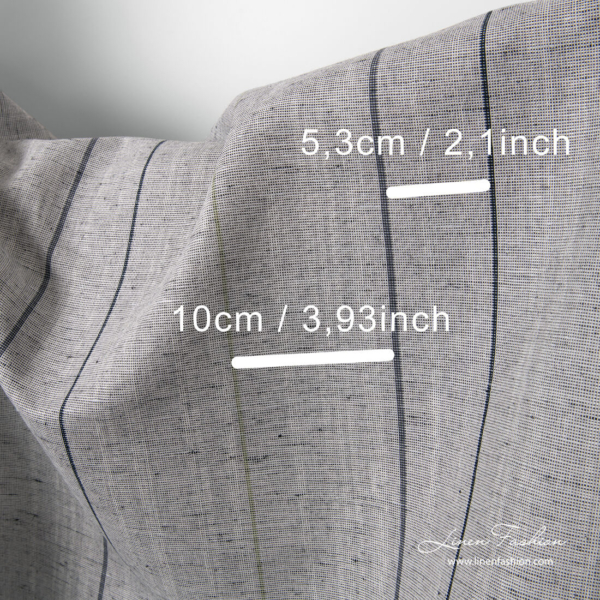 Grey linen blend fabric with black stripes and measurements
