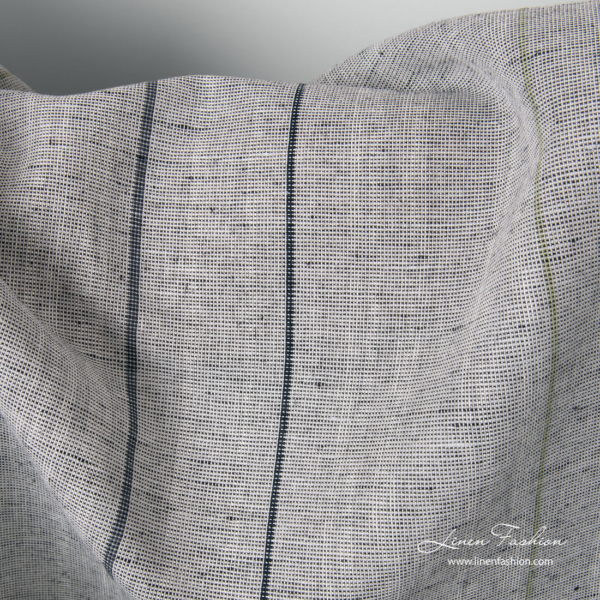 Grey variegated linen cotton fabric with black stripes