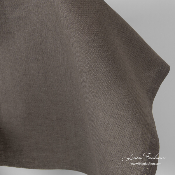 Grey brown linen fabric