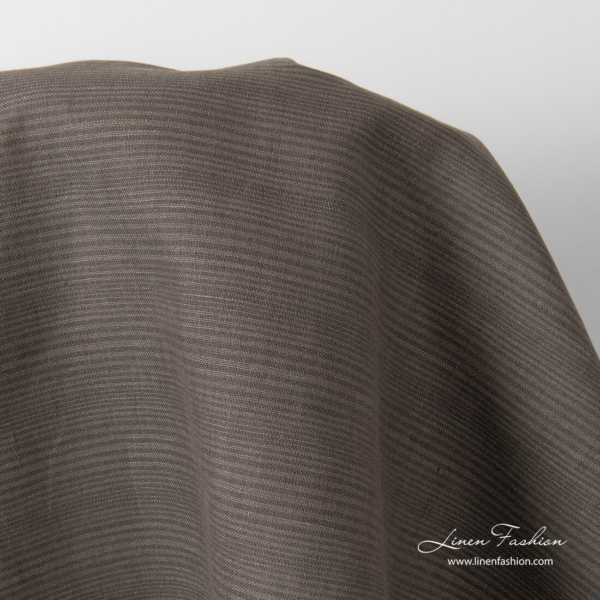 Linen blend fabric with thin brown, grey stripes