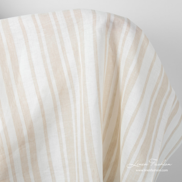 Linen fabric with sand colour stripes