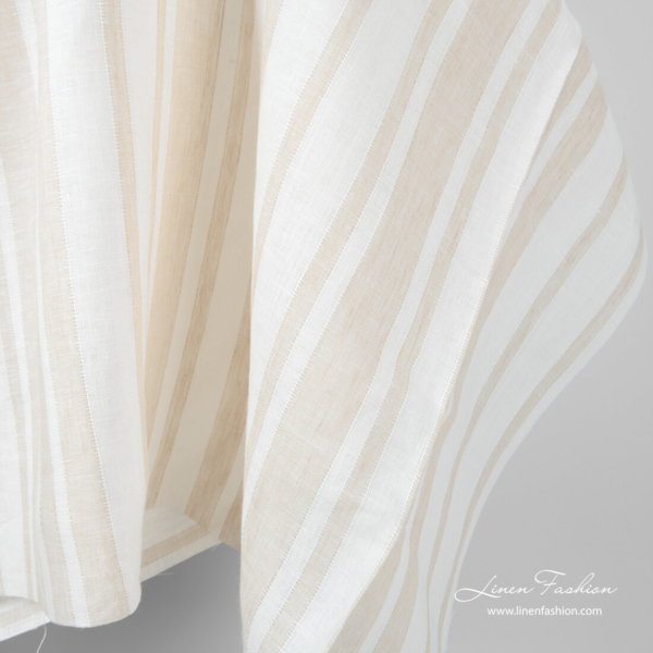 White and sand colour striped linen fabric