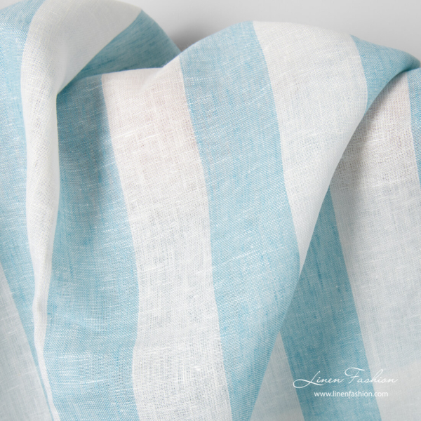 Linen fabric in white blue wide stripes