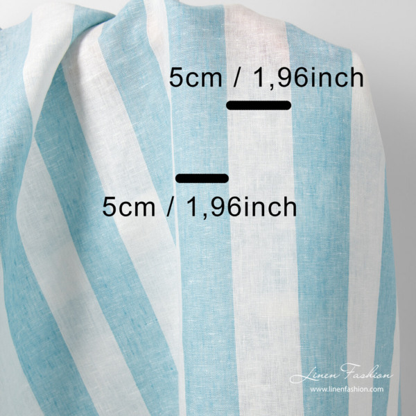 Linen fabric with white and blue stripe measurements