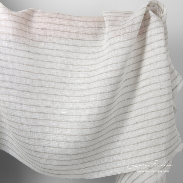 White linen fabric with grey horizontal stripes