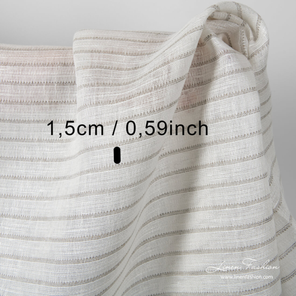 Of white linen fabric with natural color stripes
