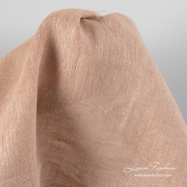Shiny linen fabric in light brown and copper lurex
