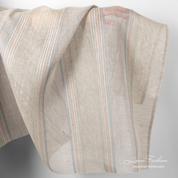 Linen fabric with pastel stripes