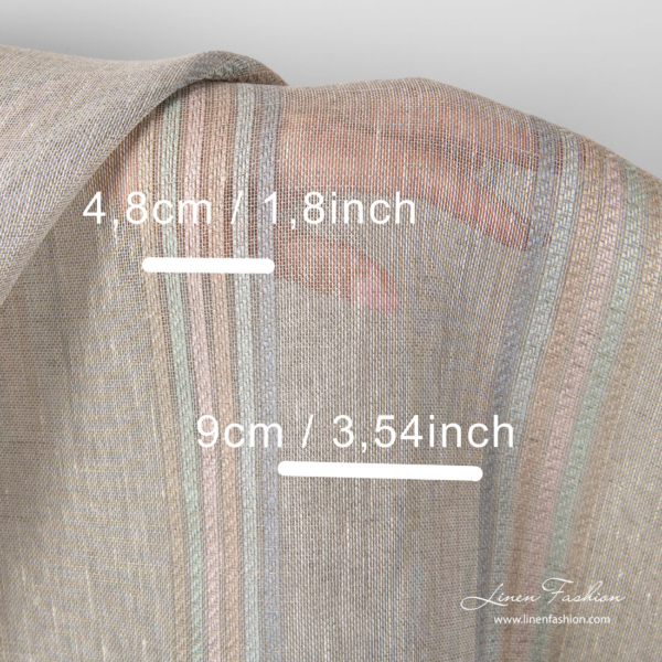 Light grey linen fabric with stripe measures